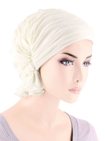 ABBEY-661#The Abbey Cap in Ruffle Ivory