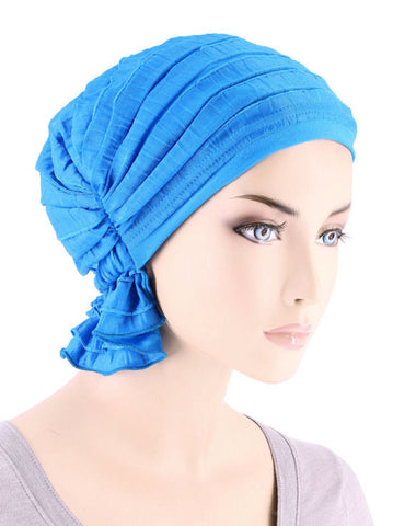 ABBEY-662#The Abbey Cap in Ruffle Turquoise Blue