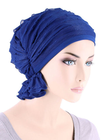 ABBEY-663#The Abbey Cap in Ruffle Royal Blue