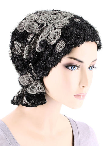 ABBEY-668#The Abbey Cap in Black Gray Swirl Embroidered