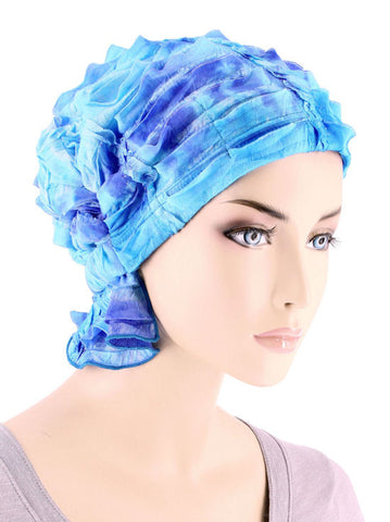 ABBEY-672#The Abbey Cap in Ruffle Blue Embroidered Tie-Dye