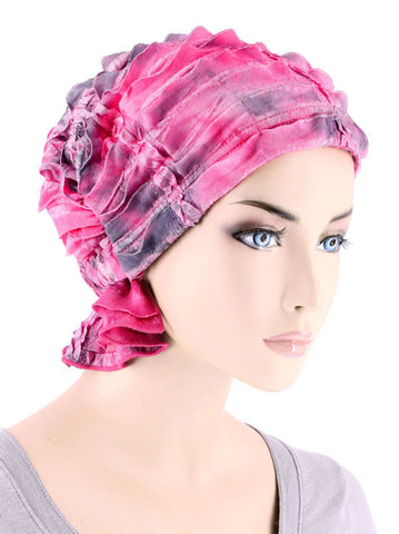 ABBEY-673#The Abbey Cap in Ruffle Pink Embroidered Tie-Dye