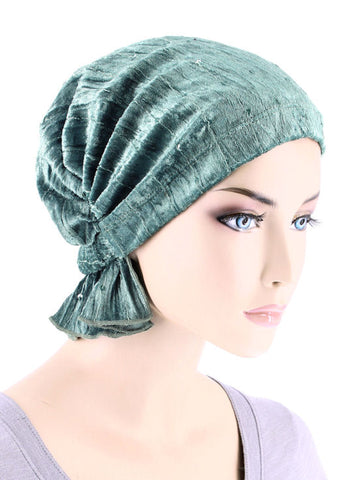 ABBEY-674#The Abbey Cap in Stretch Velour Mystic Sage