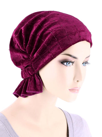 ABBEY-675#The Abbey Cap in Stretch Velour Raspberry Wine