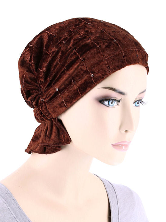 ABBEY-676#The Abbey Cap in Stretch Velour Cinnamon Spice