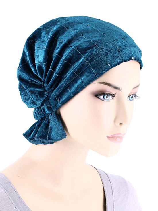 ABBEY-677#The Abbey Cap in Stretch Velour Teal Sapphire