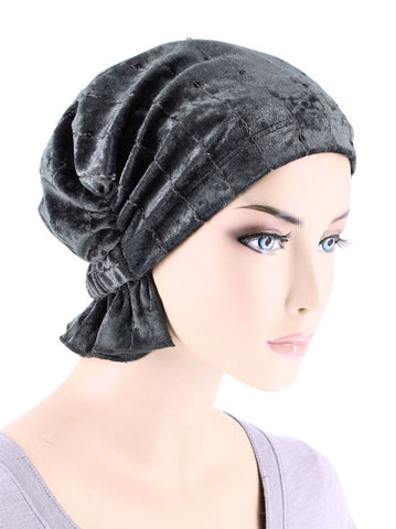 ABBEY-678#The Abbey Cap in Stretch Velour Pearl Gray