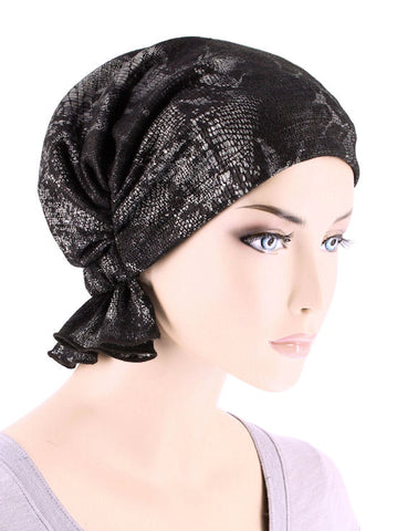 ABBEY-679#The Abbey Cap in Black Silver Snakeskin