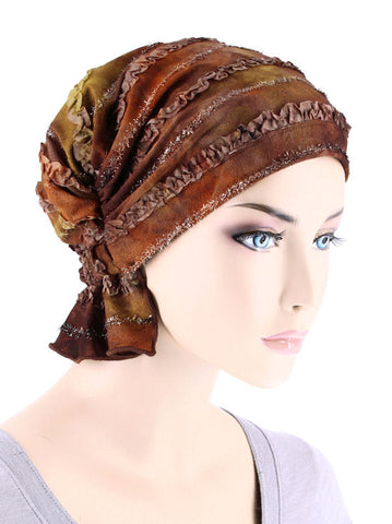 ABBEY-680#The Abbey Cap in Brown Watercolor Ribbon Embroidered