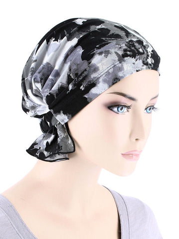 ABBEY-681#The Abbey Cap in Black Gray Water floral
