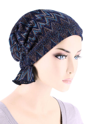 ABBEY-682#The Abbey Cap in Zig Zag Blue Brown Metallic