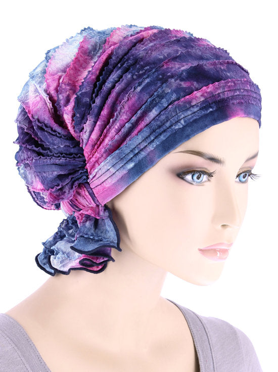 ABBEY-685#The Abbey Cap in Ruffle Tie-dye Purple Pink