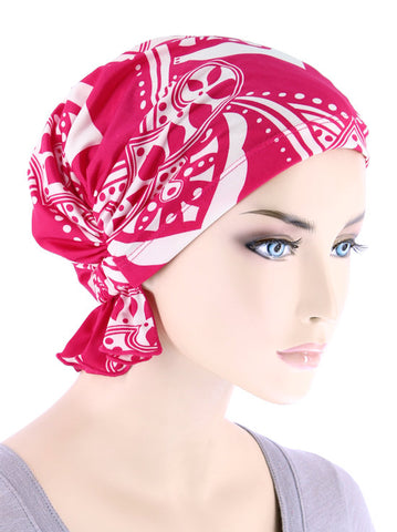 ABBEY-686#The Abbey Cap in Hot Pink Medallion