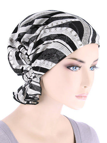 ABBEY-690#The Abbey Cap in Black Silver Stripe Geometric