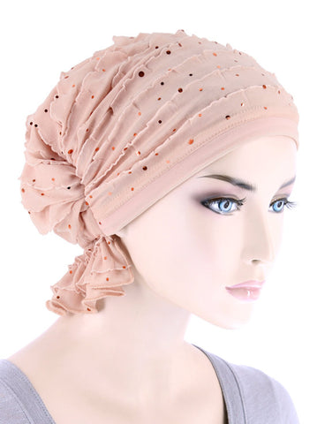 ABBEY-691#The Abbey Cap in Ruffle Blush Sequin