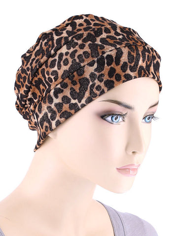 CKC-117#Chemo Cloche Cap in Sequin Leopard Brown Gold Shimmer