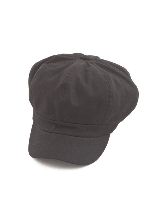 NB-BLACK#Cotton Newsboy Chemo Hat in Black