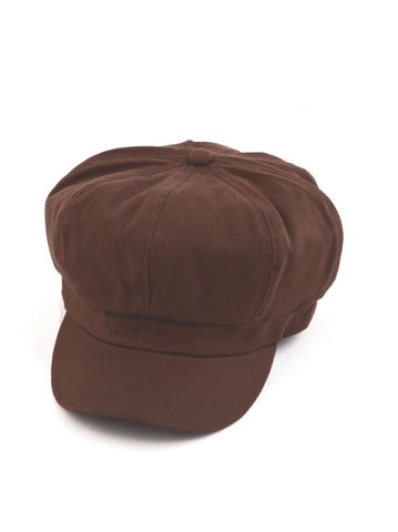 NB-BROWN#Cotton Newsboy Chemo Hat in Brown
