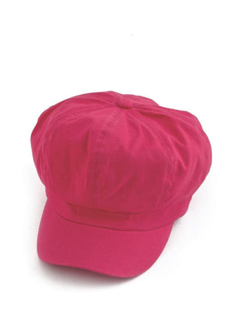 NB-HTPINK#Cotton Newsboy Chemo Hat in Hot Pink