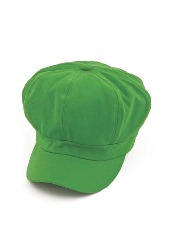 NB-LIME#Cotton Newsboy Chemo Hat in Lime Green