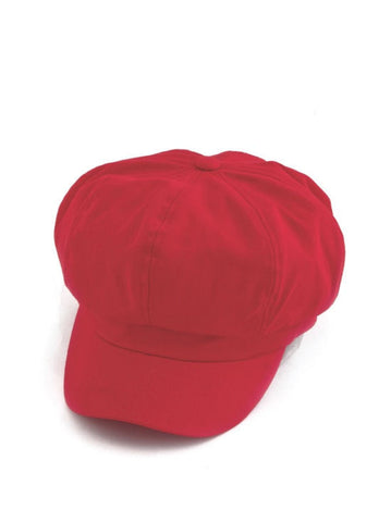 NB-RED#Cotton Newsboy Chemo Hat in Red
