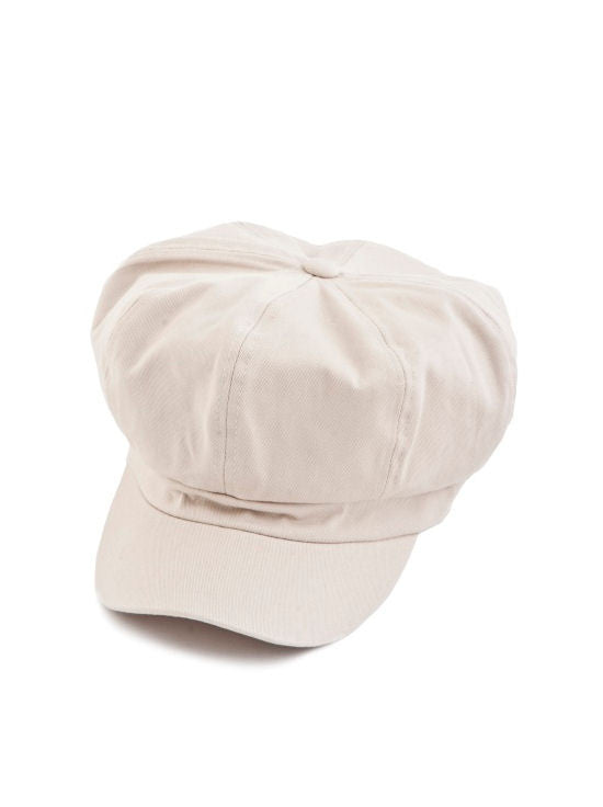 NB-STONE#Cotton Newsboy Chemo Hat in Stone