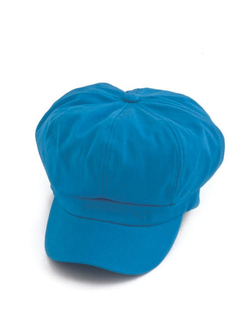 NB-TURQ#Cotton Newsboy Chemo Hat in Turquoise Blue