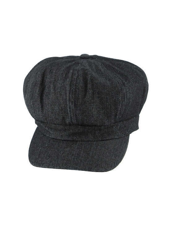 NB-BLKDENIM#Cotton Newsboy Chemo Hat in Black Denim