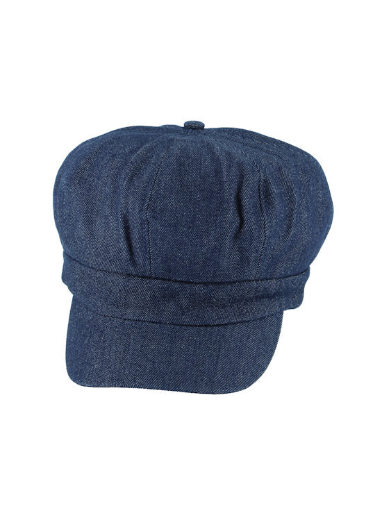 NB-DKDENIM#Cotton Newsboy Chemo Hat in Indigo Denim