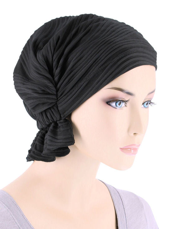 ABBEY-656#The Abbey Cap in Black Wave Micro Ruffle