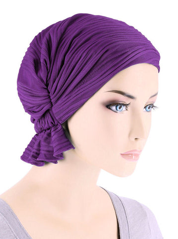 ABBEY-658#The Abbey Cap in Purple Wave Micro Ruffle
