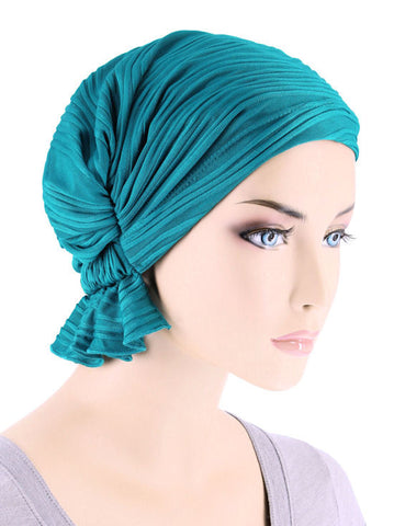 ABBEY-660#The Abbey Cap in Turquoise Wave Micro Ruffle