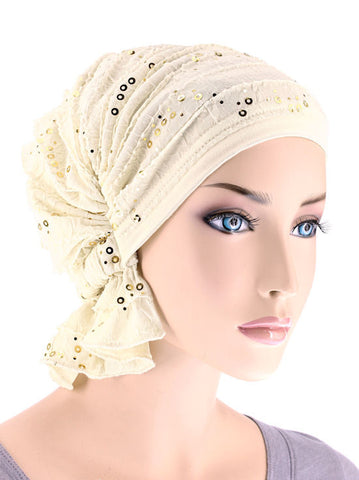 ABBEY-474#The Abbey Cap in Ruffle Ivory Gold Sequin