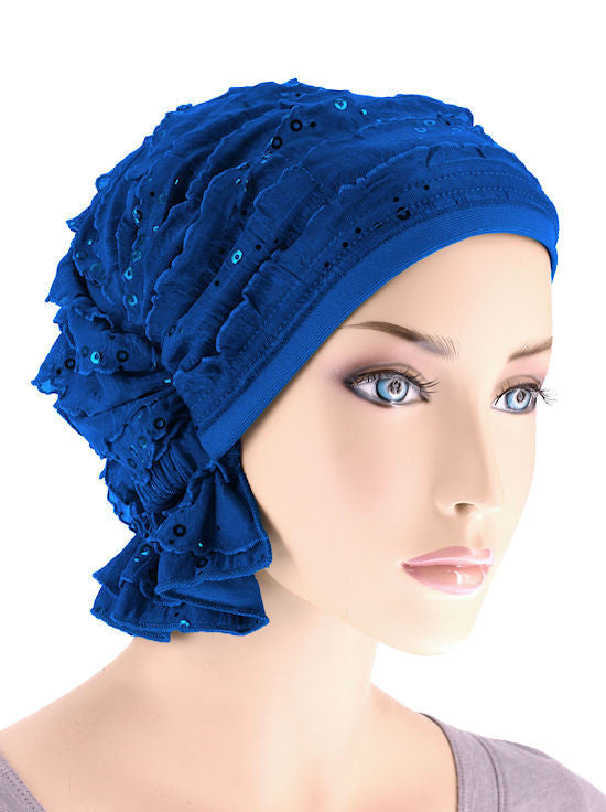 ABBEY-477#The Abbey Cap in Ruffle Royal Blue Sequin