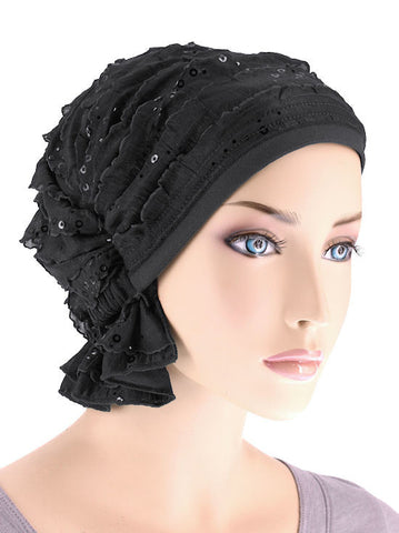 ABBEY-488#The Abbey Cap in Ruffle Black with Black Sequin
