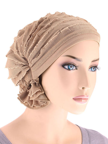 ABBEY-501#The Abbey Cap in Ruffle Beige