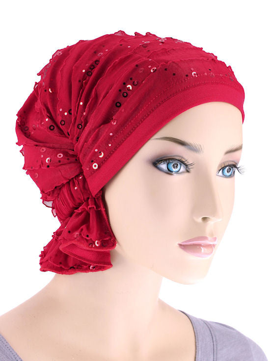 ABBEY-504#The Abbey Cap in Ruffle Red Sequin