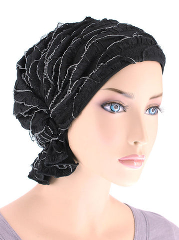 ABBEY-514#The Abbey Cap in Ruffle Black with White Trim