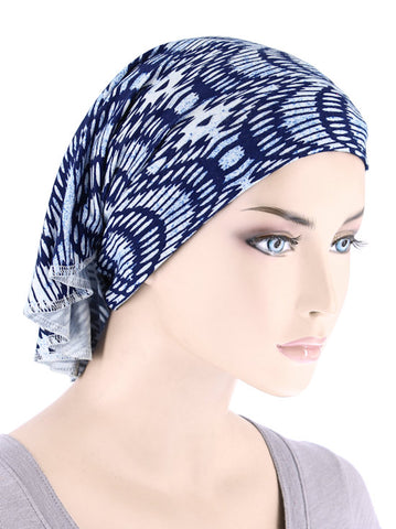 CE-BDNAWRAP-BLUEABSTRACT#Bandana Wrap in Blue Abstract