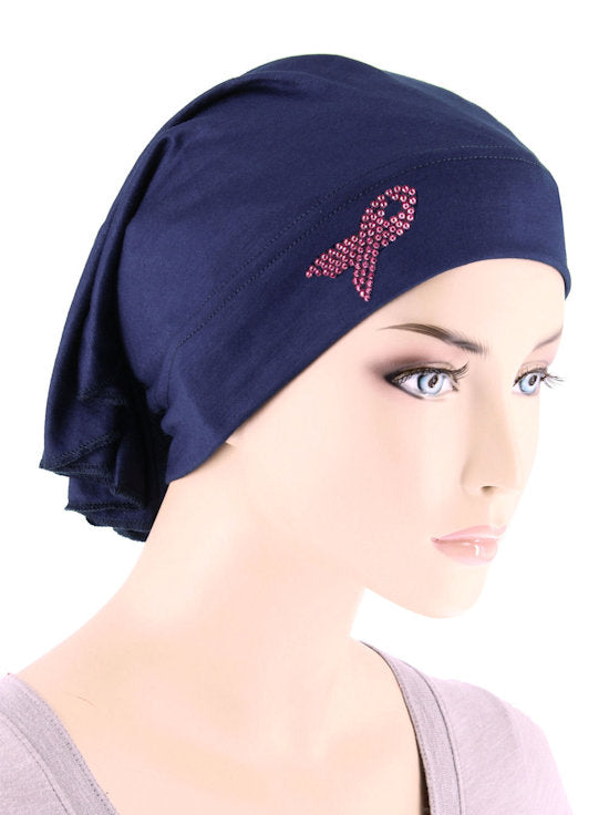 CE-BDNAWRAP-PR-NAVY#Bandana Wrap Pink Ribbon Rhinestud in Navy Blue