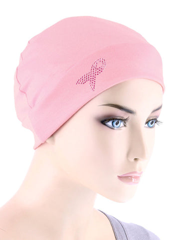CE-CHEMOCAP-PR-PINK#Chemo Cap Pink Ribbon Rhinestud in Pink