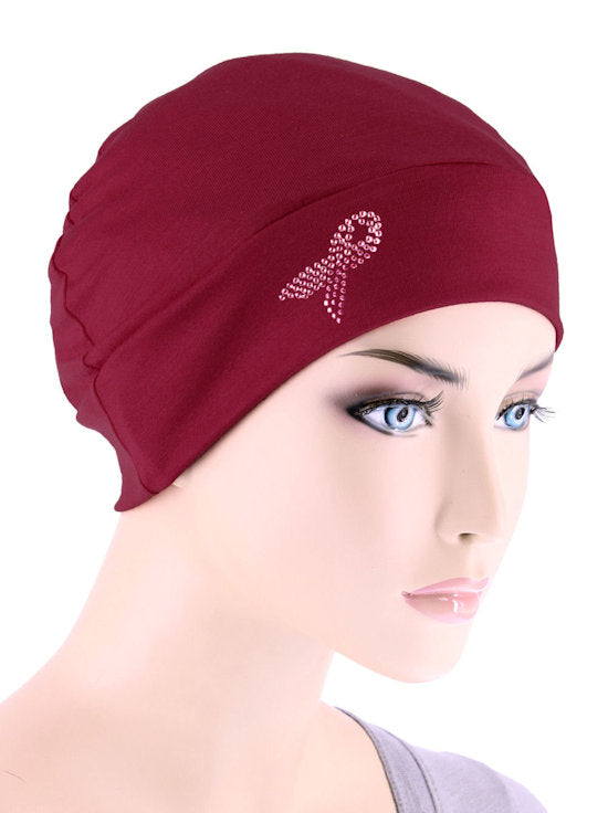 CE-CHEMOCAP-PR-BURGUNDY#Chemo Cap Pink Ribbon Rhinestud in Burgundy Red