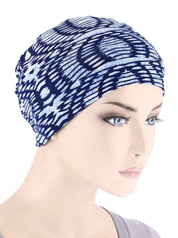 CE-CHEMOCAP-BLUEABSTRACT#Chemo Cap in Blue Abstract