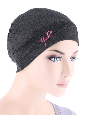CE-CHEMOCAP-PR-CHARCOAL#Chemo Cap Pink Ribbon Rhinestud in Charcoal Gray