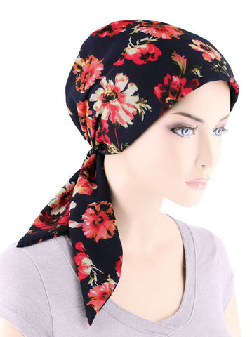 CFS-1142#Chemo Fashion Scarf Navy Red Floral