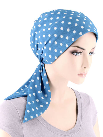 CFS-1143#Chemo Fashion Scarf Carolina Polka Dot Blue