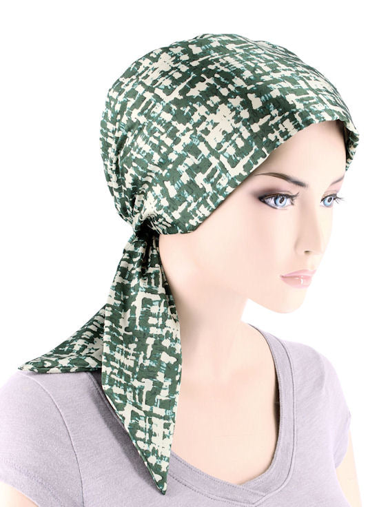 CFS-1150#Chemo Fashion Scarf Fern Green Geometric