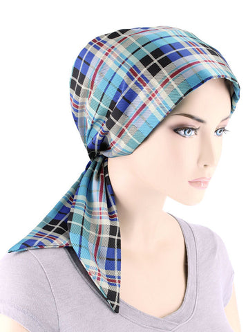 CFS-1153#Chemo Fashion Scarf Blue Plaid