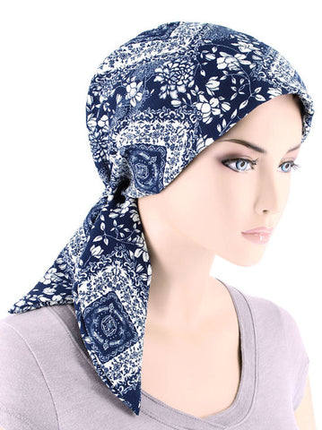 CFS-1154#Chemo Fashion Scarf Navy White Floral