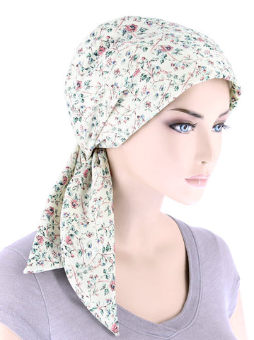 CFS-1160#Chemo Fashion Scarf Ivory Pink Floral